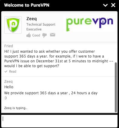 purevpn review live chat